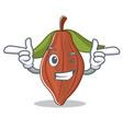 wink cacao bean character cartoon vector image vector image