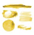 yellow gold watercolor shapes circle splotches vector image vector image