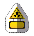 Yellow metal emblem warning radiation notice sign