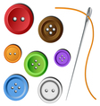 Clothes button set with needle vector image