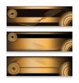 Golden headers set in three choice vector image