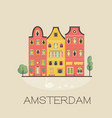 an amsterdam street with traditional old buildings vector image vector image