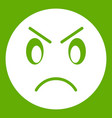 annoyed emoticon green vector image vector image