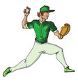 baseball player throws ball on white vector image