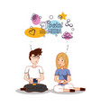 business couple with social media icons vector image vector image
