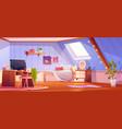 cartoon girl bedroom interior on attic