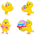 cartoon little chick with easter egg vector image vector image