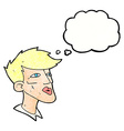 cartoon male model guy with thought bubble vector image vector image