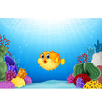 Cartoon puffer fish with Coral Reef Underwater vector image vector image
