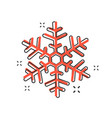 cartoon snowflake icon in comic style winter sign vector image vector image