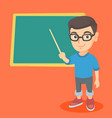 caucasian student pointing at the blackboard vector image