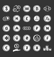 coin icon set grey vector image