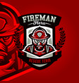 colorful logo emblem a sticker a firefighter in vector image vector image
