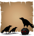 Crazy Crow on skull and old paper vs vector image vector image
