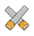 cross woodworking saw isolated icon vector image vector image