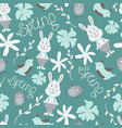 cute seamless pattern with flowers birds vector image vector image