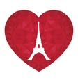 Eifel Tower Paris On St Valentines Day Ruby vector image
