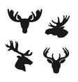 elk moose deer silhouettes animals hunting icons vector image