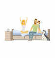 family in the morning - cartoon people character vector image