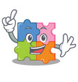 finger puzzle mascot cartoon style vector image