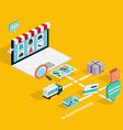 Flat 3d web isometric e-commerce electronic vector image vector image