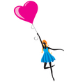 girl flying in air balloon vector image vector image