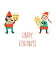 girls keeping present box happy holidays vector image vector image