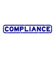 grunge blue compliance word square rubber seal vector image vector image