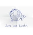 hand drawn cartoon earth vector image vector image