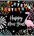 happy new year greeting card invitation with hand vector image vector image
