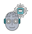 head of robot humanoid with microchip isolated vector image