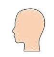 human head in colored crayon silhouette vector image vector image
