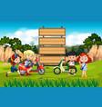 international children on wooden board vector image