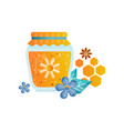 jar of honey flowers and spices vector image vector image