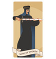 king of swords with spades crown holding a sword vector image vector image
