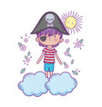 little pirate in the clouds fairytale character vector image