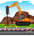 man digging hole with drill at the construction vector image vector image
