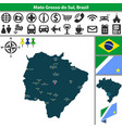 map of mato grosso do sul brazil vector image vector image