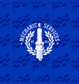mechanic service logo on seamless pattern vector image