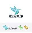origami bird logo design vector image