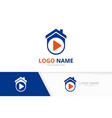 real estate and record logo combination house vector image