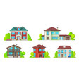 real estate icons residential buildings houses vector image vector image