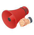 red hand speaker icon isometric style vector image