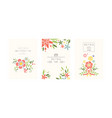 retro cards set design element with garden vector image