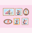 set happy family pictures memories vector image