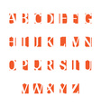 Set of alphabet symbols icons orange vector image vector image