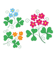 set of plants with flowers vector image