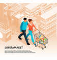 shopping in supermarket composition vector image vector image