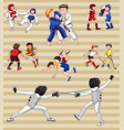 sticker set with people playing sports vector image