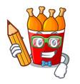 student fried chicken in red bucket cartoon vector image